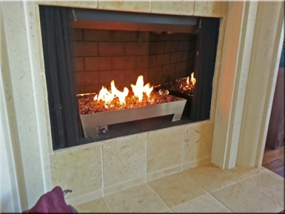 custom propane fireplace pan with glass 6