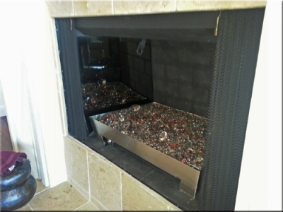 custom propane fireplace pan with glass 5