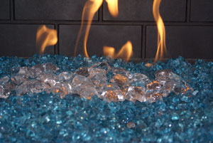 Fireplace and Fire Pit Glass and Ice on Fire with Aquatic Glassel ...