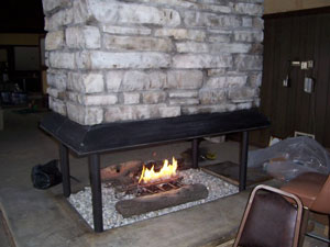 Propane fireplace with fireglass 5