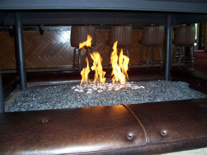 Propane fireplace with fireglass 6