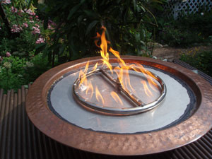 outdoor custom firebowl with propane burner