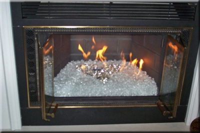 The fireplace below is a direct vent/ B vent fireplace which was installed  in Dallas, Texas by Nadine Of Elegant Reflections. She started with a  Starfire ... - Glass And Ice For Your Fireplace Design Fireplace And Fire Pit Glass,