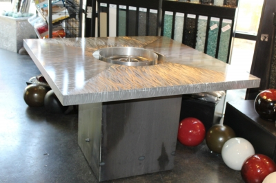 Custom corten mental fire table with fire balls 4